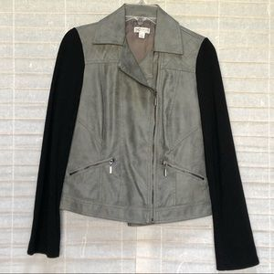 Bisou Bisou Quilted Gray Leather Motorcycle Jacket